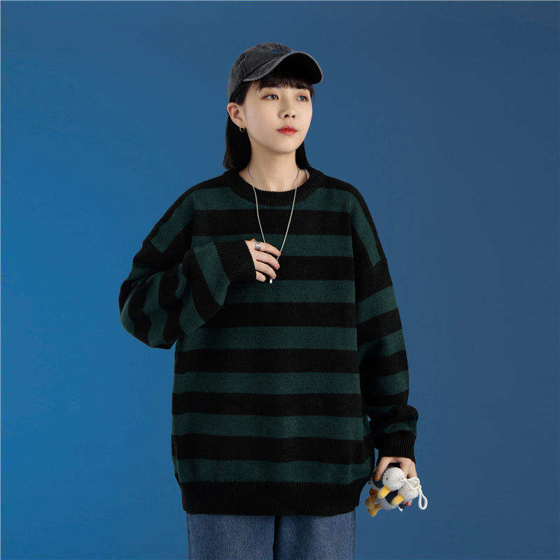 Fashion Green And Black Stripe Knitted Sweater Men And Women's Autumn Winter Round Neck Casual Trend Pullover Clothing
