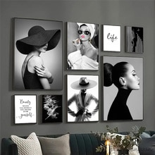 Fashion Wall Art Black White Underwater Woman Print Sexy Female Poster Canvas Art Beauty Wall Pictur
