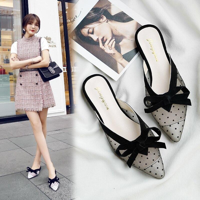 Обувь Muller Baotou/модные босоножки на низком каблуке с острым носком женские полу-шлепанцы Лето 2019 кружева знаменитостей A818
