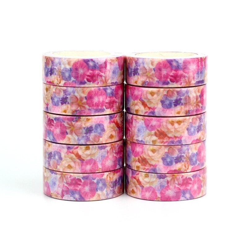 Wholesale 10pcs/lot Decorative Pink Purple Flowers Washi Tapes DIY Scrapbooking Planner Adhesive Masking Tapes Kawaii Stationery