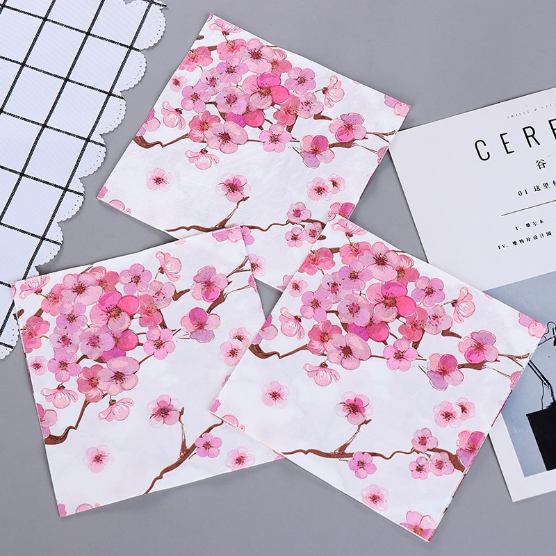 10 pçs flor de ameixa comida-grelha impresso guardanapo de papel serviletas decoupage decorado tecido de madeira virgem 33*33cm