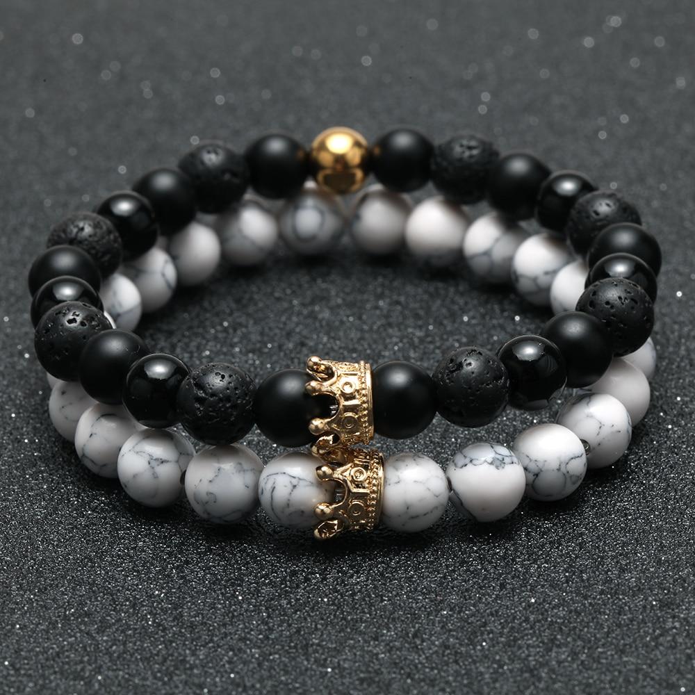 2 шт., очаровательный парный браслет для мужчин, Золотая Корона, женские браслеты, натуральный камень, браслет из бусинок, бохо, браслет для п...