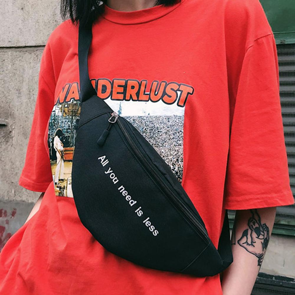 Print Letter Waist Bag Unisex Fanny Pack Men Women Canvas Shoulder Chest Bag Packs Girls Crossbody Messenger Belt Bags Purse