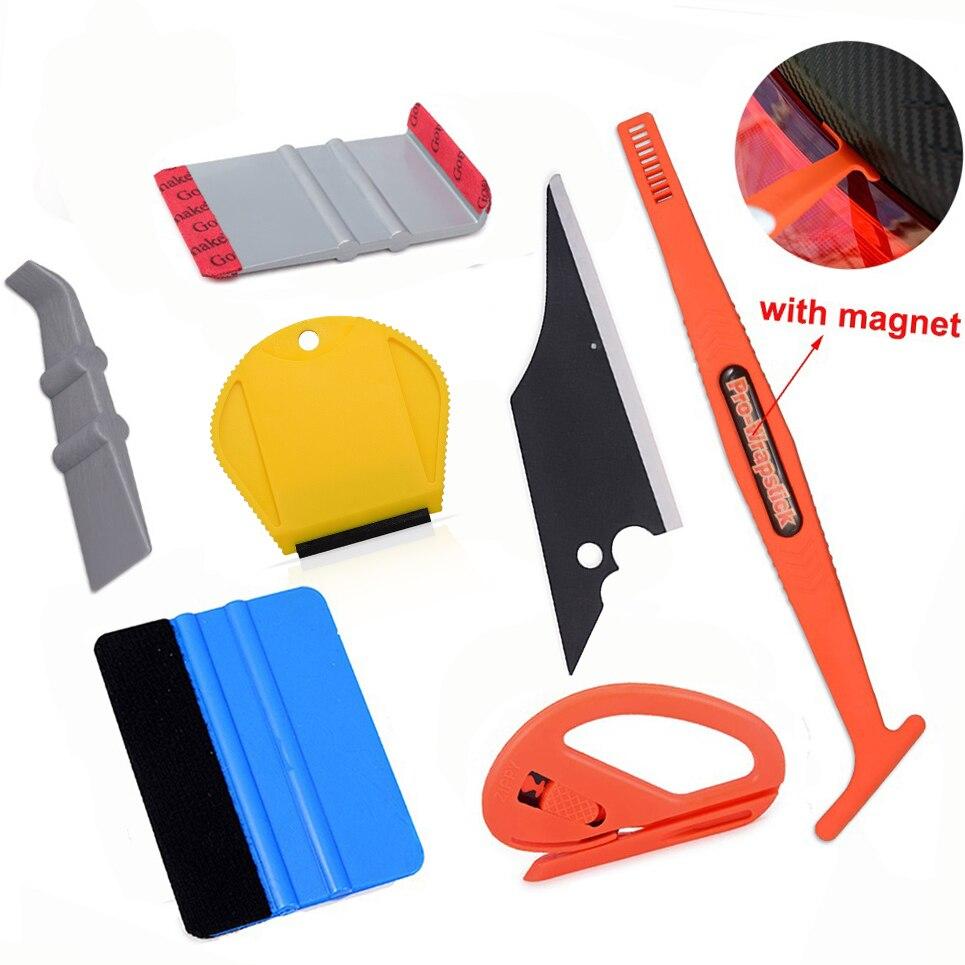 Ehdis ferramentas envoltório de vinil interior do carro acessórios kit vara magnética rodo raspador filme de fibra carbono adesivo cortador ferramenta reparo