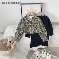mudkingdom girl leopard set fashion turn down collar long sleeve jacket solid knit dress outfits toddler spring autumn clothes