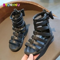 kids shoes for girl sandals children roman shoes 2021 summer new pu leather girls princess bow sandals high tube gladiator shoes
