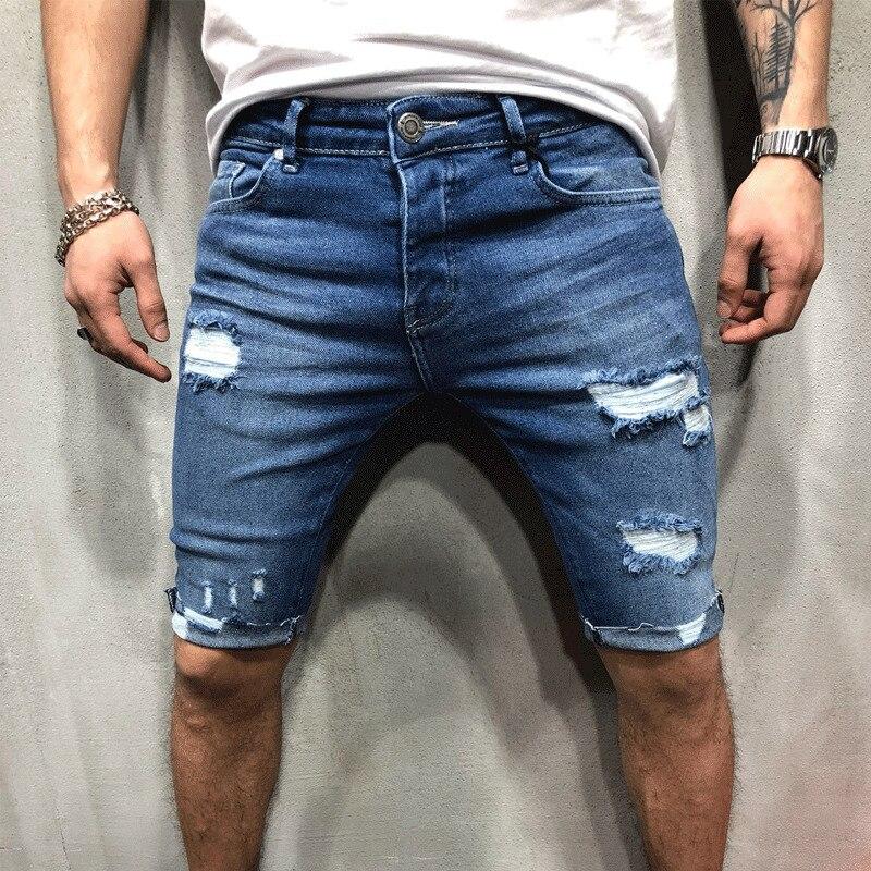 Мужские рваные джинсовые шорты, хлопковые Бермуды, дышащие синие джинсовые шорты, мужские облегающие шорты с дырками, мужские джинсы 2021
