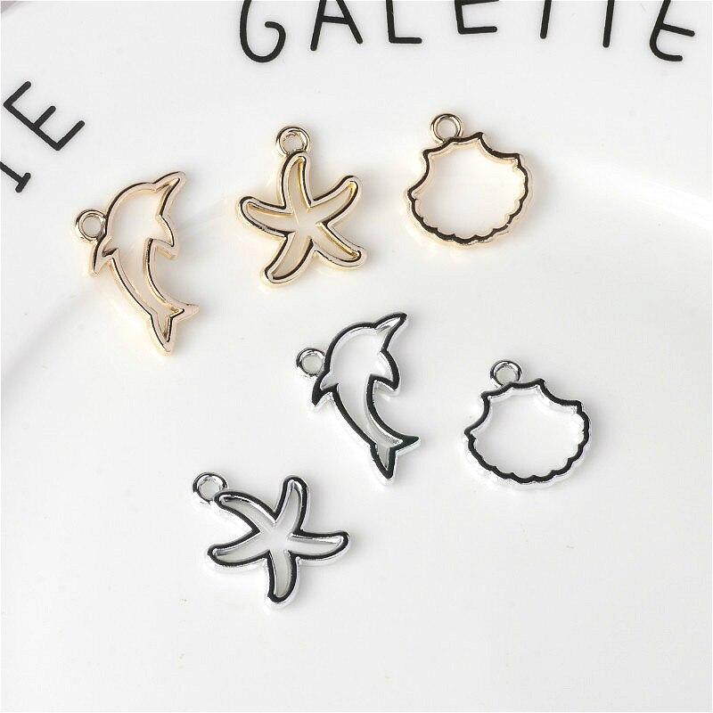 20 unids/lote animales del océano delfín estrella de mar abalorios con concha colgante DIY adornos accesorios Enchapado en Color UV