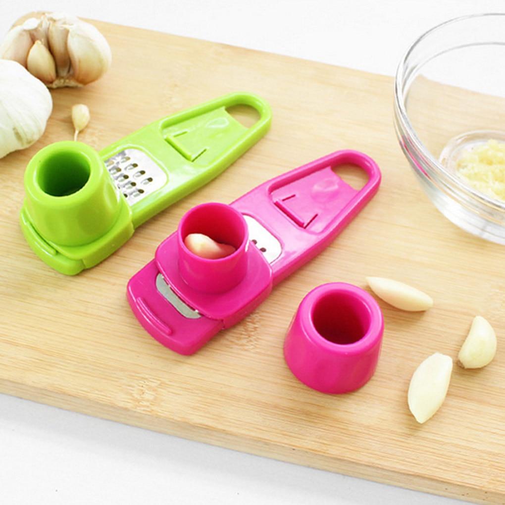 New Stainless Steel PP Garlic Presses Ginger Cutter Candy Color Plastic Grinding Tool Microplaner Planer Kitchen Grater Grinder