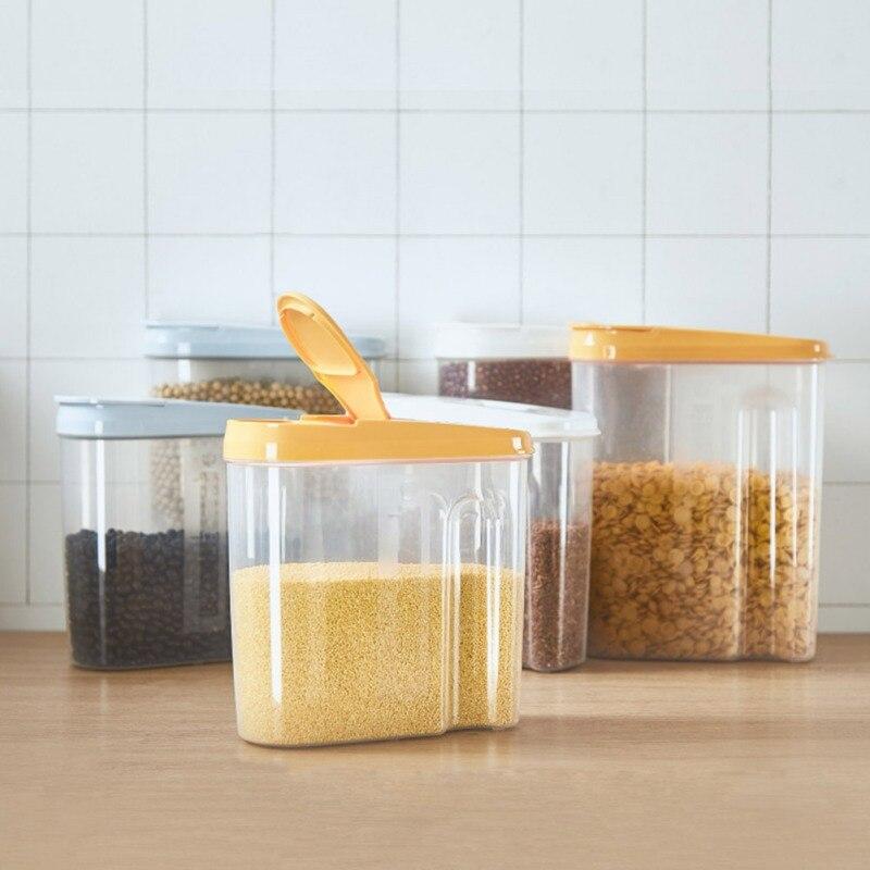 Latas de plástico selladas a presión tarro de comida transparente caja para almacenar granos de fruta seca tanque de almacenamiento