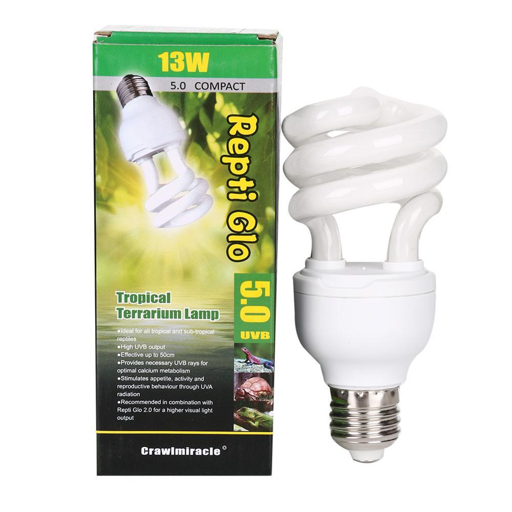 HKML Dropship 5,0 10,0 UVB 13W lámpara para reptiles bombilla UV lámpara de brillo para Vivarium terrario tortuga ES-E27 lámparas de ahorro de energía