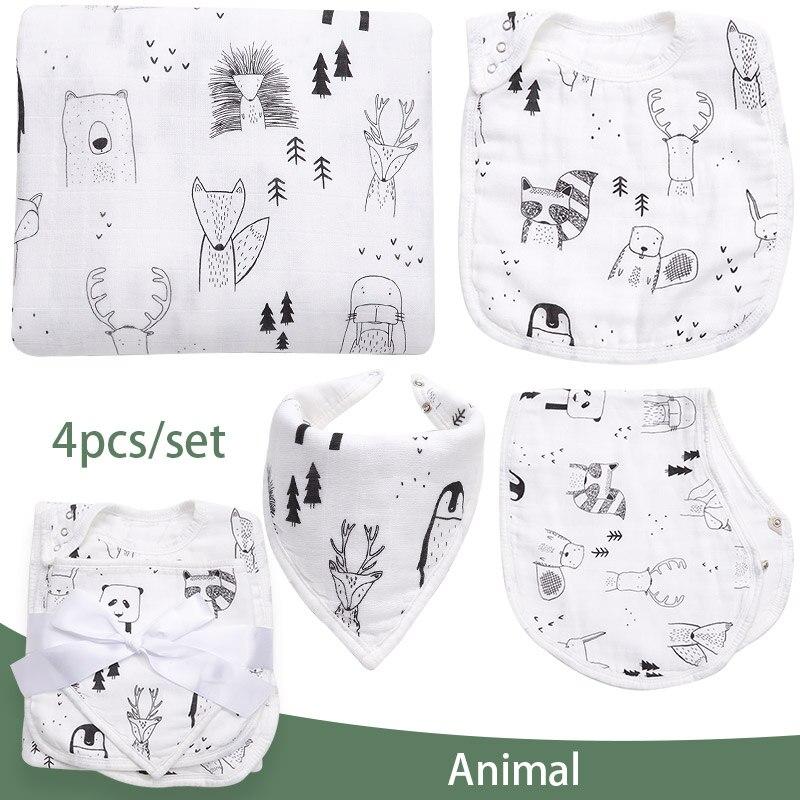 4 шт./лот детские одеяла и нагрудники, муслиновые подгузники, конверт для новорожденных, модные детские пеленки, детское банное полотенце, де...