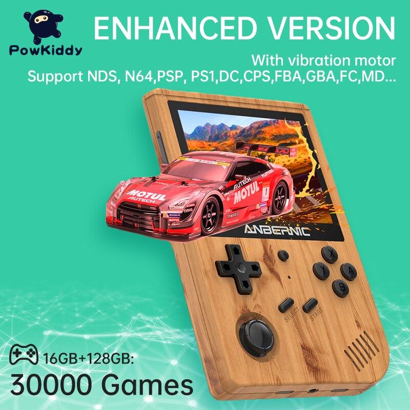 POWKIDDY anberonic RG351V 3.5-Inch وحدة تحكم بجهاز لعب محمول 128G مثبتة مسبقا 30,000 ألعاب المدمج في واي فاي الاهتزاز صديق هدية