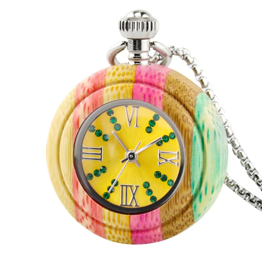 Relógio de Bolso de Quartzo de Madeira de Bambu Pingente de Madeira Relógio de Bolso Feminino com Corrente Novo Colorido Algarismos Árabes Mostrador Redondo Masculino