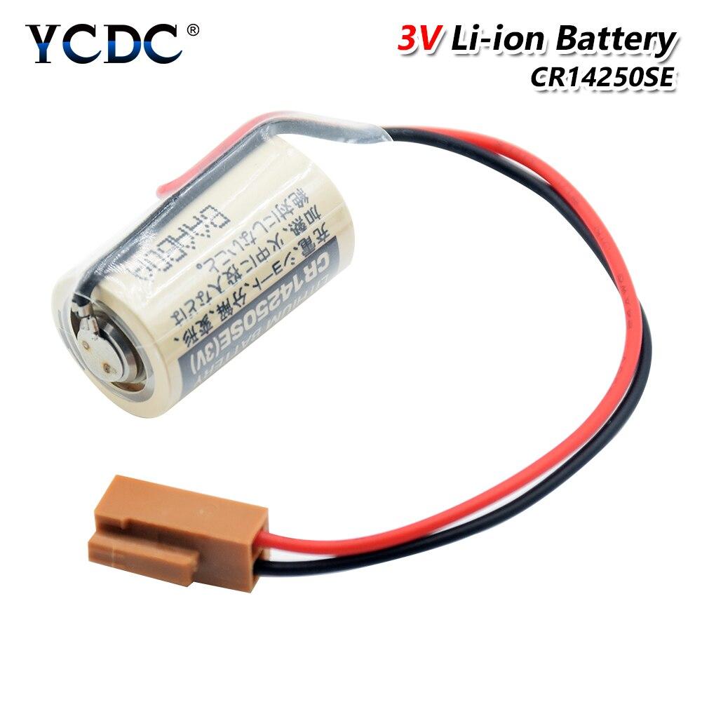 Nuevo CR14250SE batería PLC control industrial CR14250SE CR14250 14250 3V Litio CNC sistema de batería 1/2AA con enchufe marrón