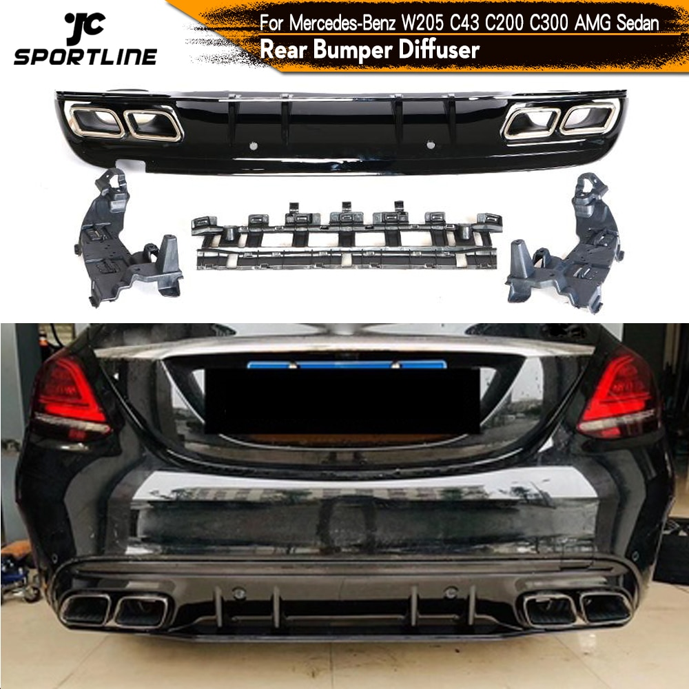 for mercedes benz c180 c200 c280 c300 c350 c63 amg projection lamp prevent rear collision warning light haze rain fog snow lamps Car Rear Bumper Diffuser Lip with Exhaust for Mercedes-Benz C-Class W205 C200 C250 C300 C350 C400 C43 AMG Sport 4-Door 2014UP