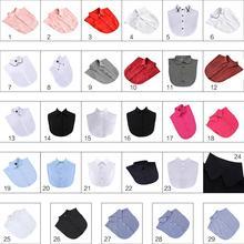 Womens Detachable Fake False Collar Solid Color Retro Plaid Check Chiffon Half Shirt Blouse Adjust Clothes Accessories 29 Styles