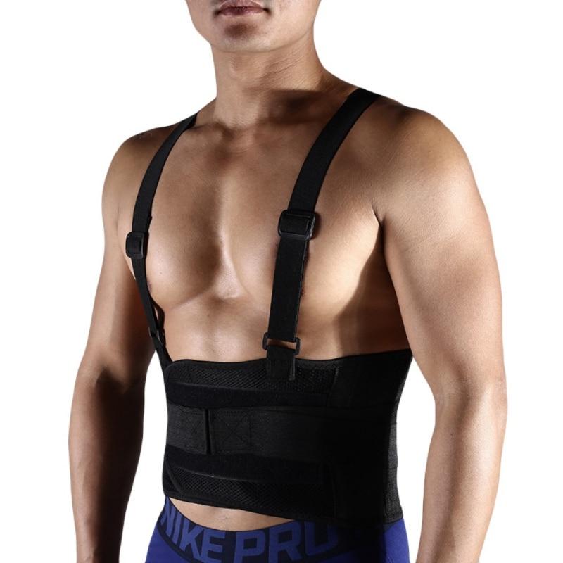 Cinturón de soporte de cintura trasera ajustable caliente para hombres transpirable soporte Lumbar Fitness Weightlifting correr con correas de hombro
