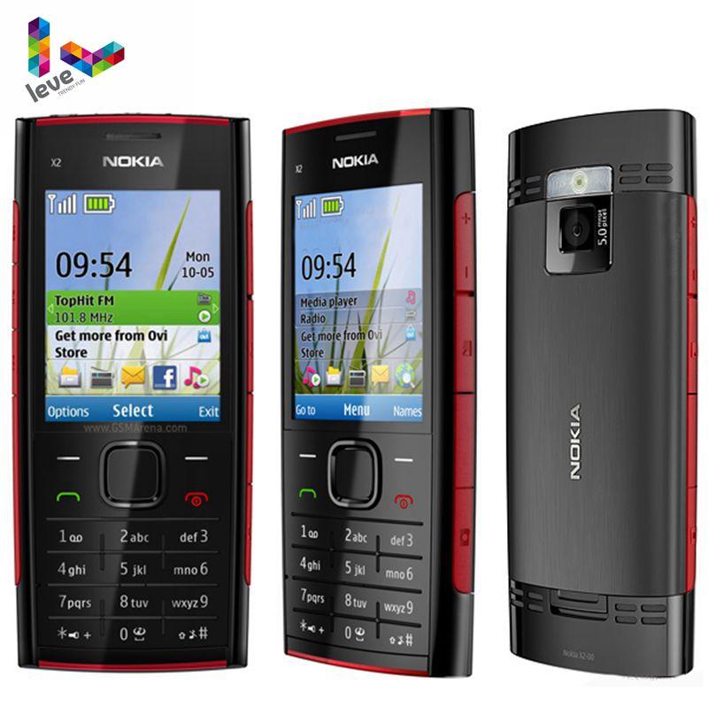 Original Unlocked Nokia X2-00 Mobile Phone Bluetooth FM MP3 MP4 Player Nokia X2 Support Russian Keyb