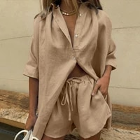 casual womem yellow lounge wear summer tracksuit shorts set long sleeve shirt tops and mini shorts suit 2021 new two piece set