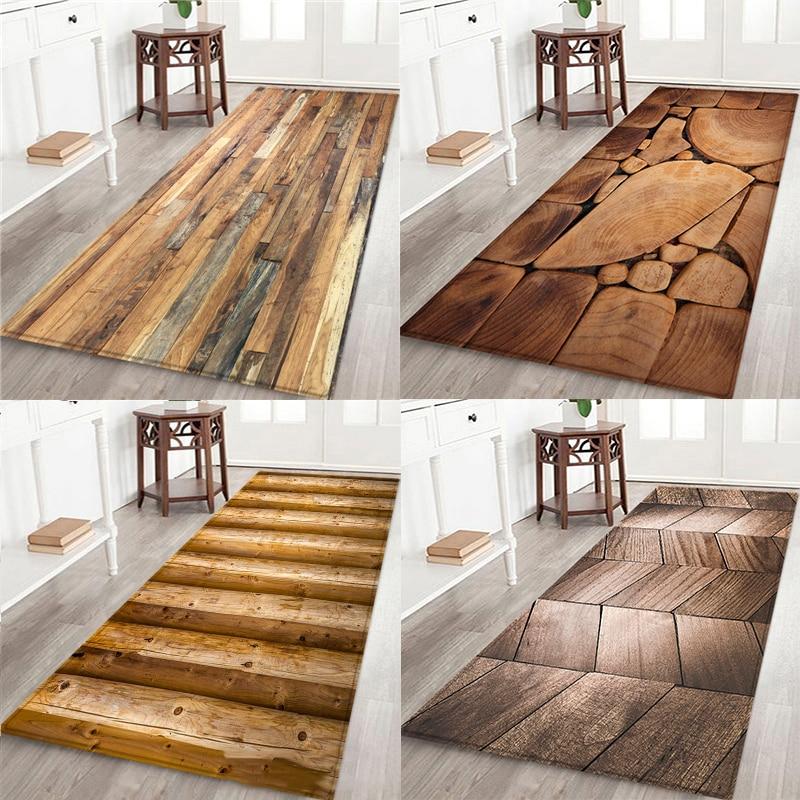 Геометрический деревянный кухонный коврик, напольный коврик, ковер для двери, противоскользящий напольный коврик для гостиной, кухонный ко...