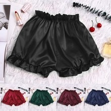 Fashion Solid Colors Ruffles Silk Satin Sexy Lace Loose Pajamas Underwear Women Shorts Large Size Lo
