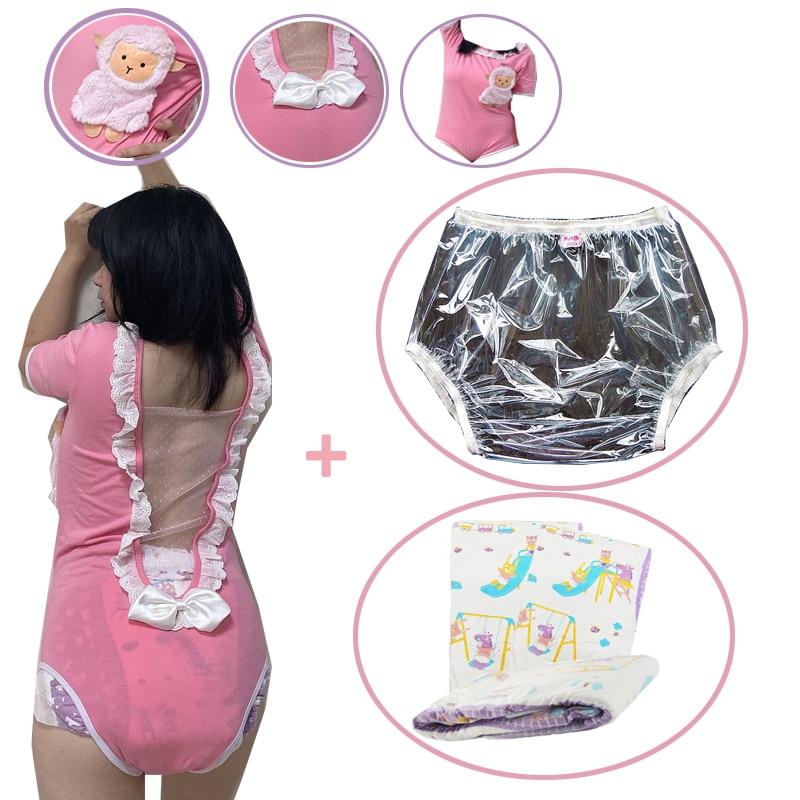 Abdl ملابس داخلية للأطفال من قطعة واحدة وردية مثيرة من الدانتيل مع فيونكة بيجاما جذابة مع ddlg سراويل داخلية قابلة لإعادة الاستخدام وحفاضات دودو...