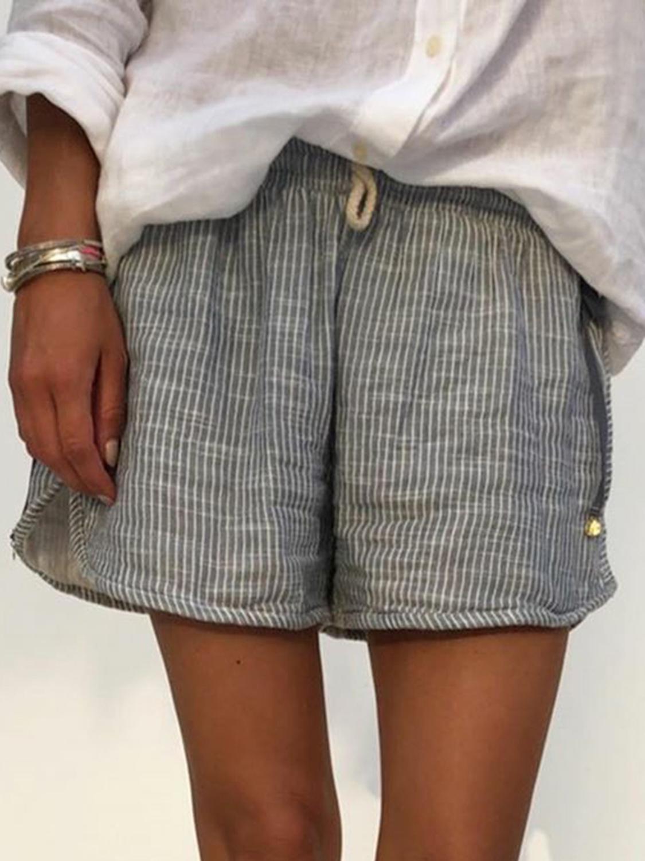 Женские шорты в полоску размера плюс, повседневные летние шорты с эластичной талией, женские шорты с высокой талией 2020