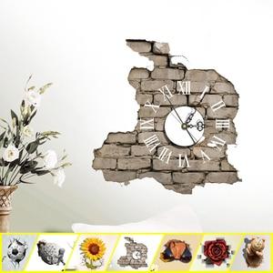 3D DIY Mute Wall Clock Stickers Living Room Bedroom Wall Decor