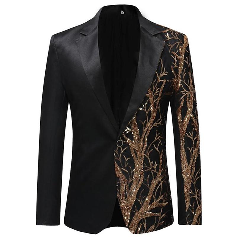 2019 Single Breasted Sequin Stage Suit Jacket Men Party Hip Hop Suit Fashion Digital Printing Drama costume Blazer Black EM184