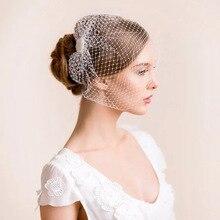 Velos de cara blanca para novia, velo de red para jaula de pájaros, accesorios para el cabello de boda encantadores, tocado con peine