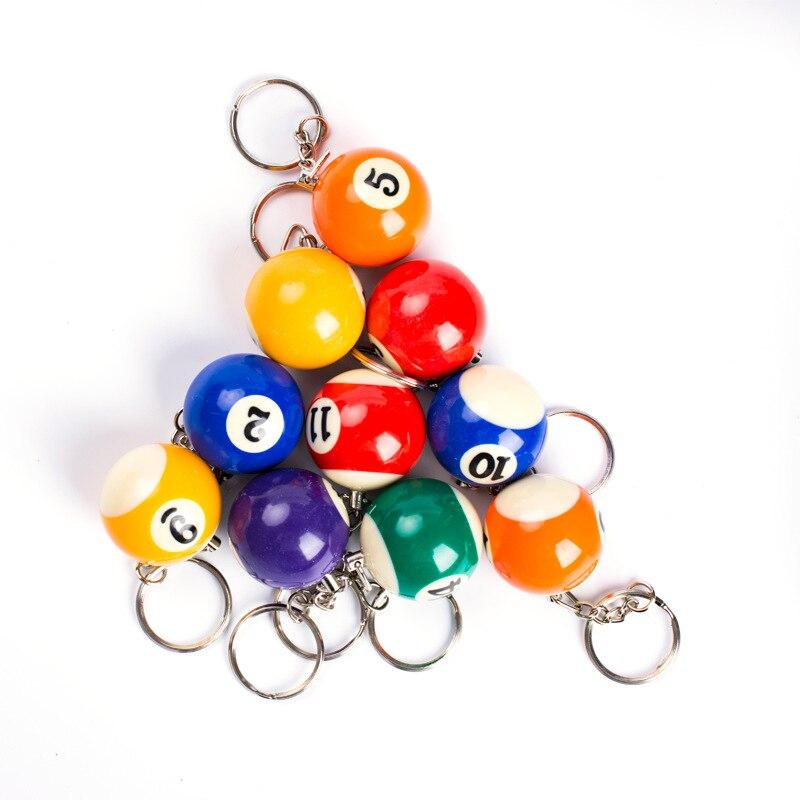Creativo llavero de mesa de billar inglés de 25 MM, llavero colorido de bolas pequeñas de billar, decoraciones colgantes, llavero al azar