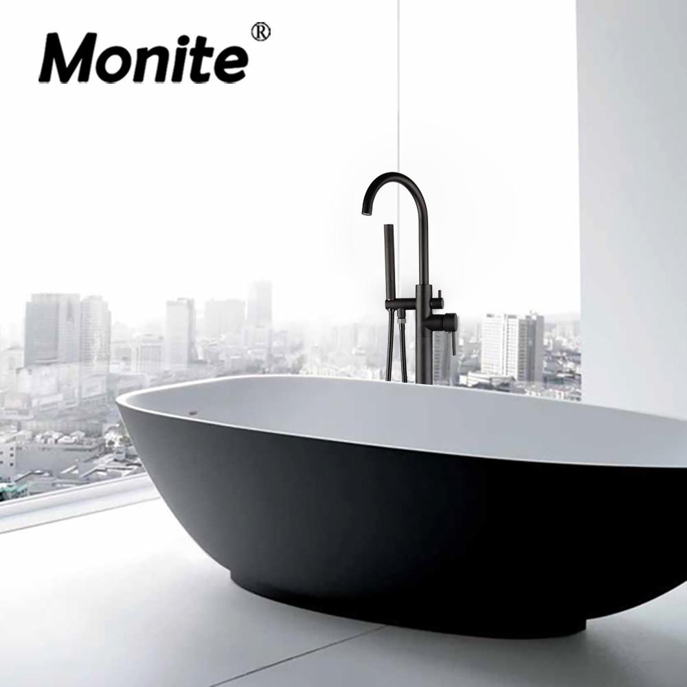 Monite-حنفية حمام سوداء غير لامعة ، مثبتة على الأرض ، كروم ، مع فرشاة نيكل