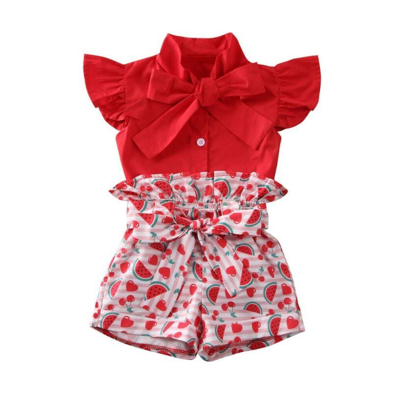 Verão bebê meninas outfits criança crianças melancia rendas roupas vermelho camiseta topo & shorts conjunto casual