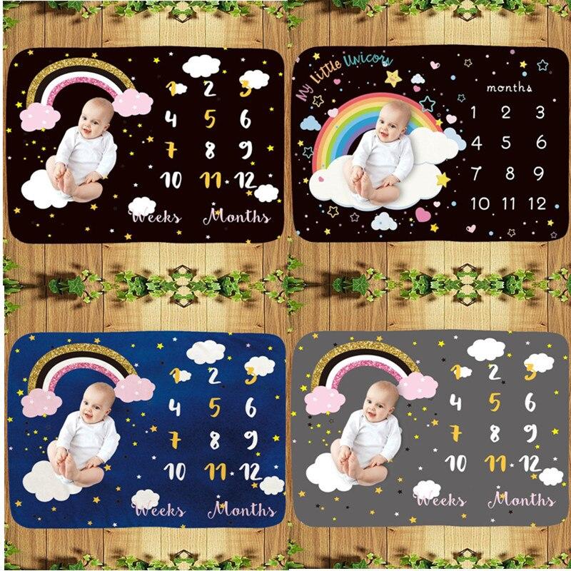 Bebé hito Arco Iris manta recién nacido foto de fondo de tela niños mensual crecimiento registro envoltura accesorios de fotografía