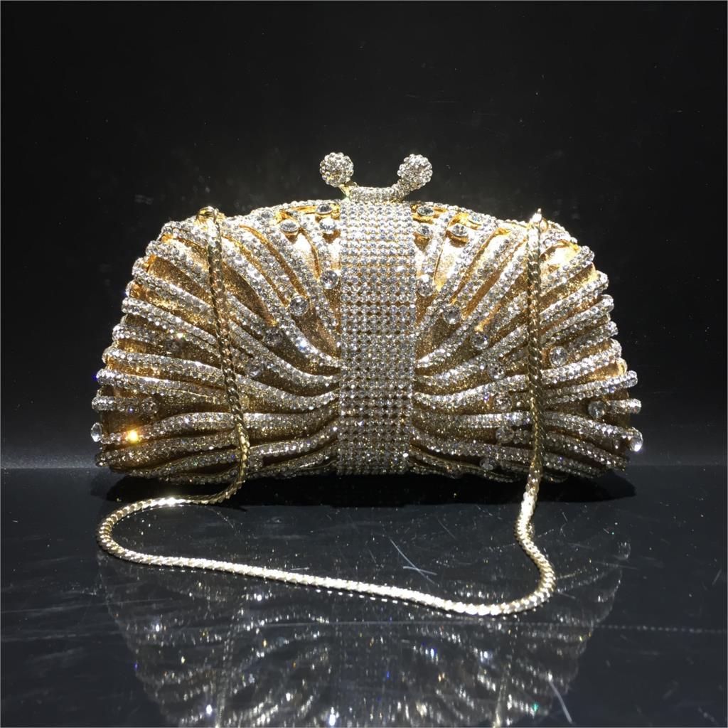 حقيبة سهرة نسائية مموجة من حجر الراين ، حقيبة كلاتش من المعدن والكريستال ، 18 × 10.5 سنتيمتر ، a6912