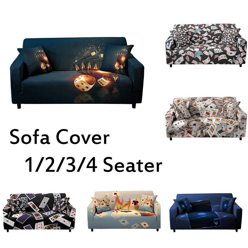 Эластичный чехол для дивана с 3D принтом покера, эластичный чехол для дивана, силиконовый чехол, секционный чехол для дивана, тонкий чехол, по... чехол