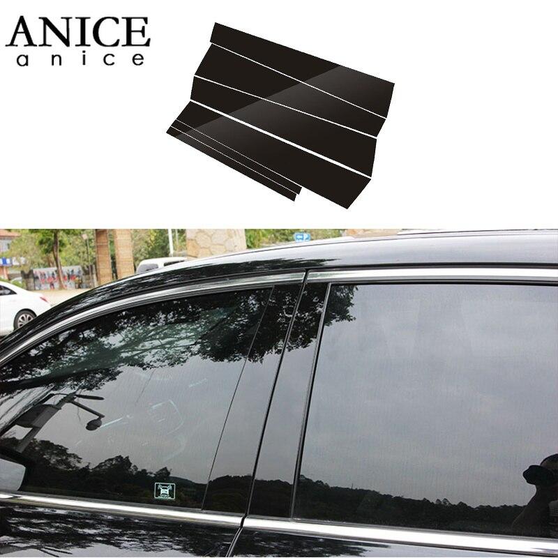 6pc brilhante preto espelho efeito janela pilar centro capa guarnição apto para honda accord sedan 4 portas 2013-2017