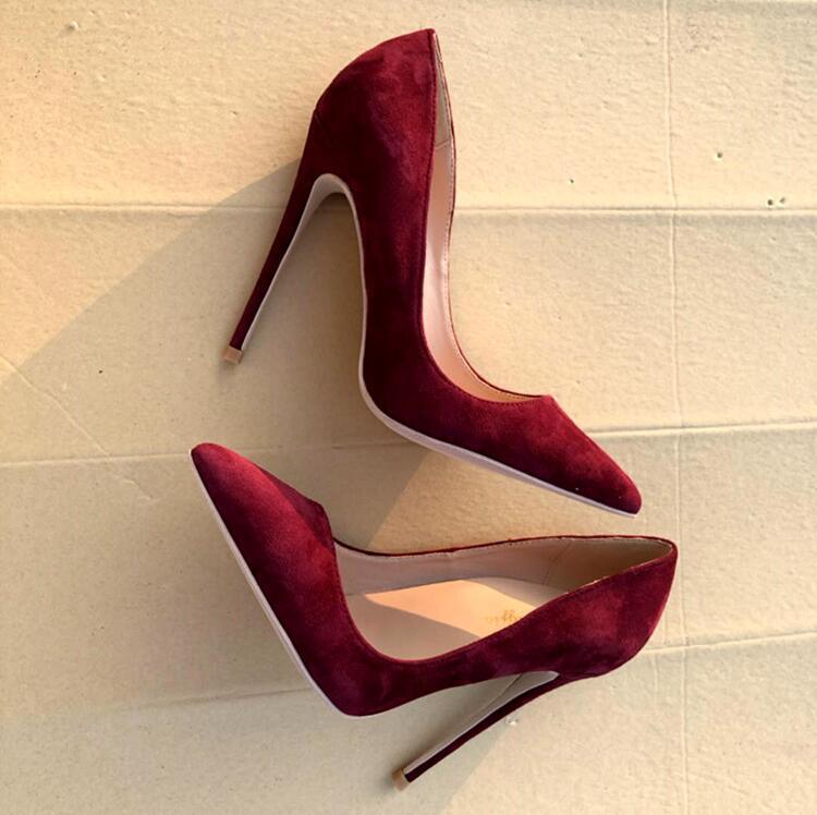 Zapatos de tacón alto de gamuza roja, zapatos de tacón de aguja de 12cm para mujer, zapatos de vestir de Punta puntiaguda, zapatos de celebración para banquete, talla grande 45