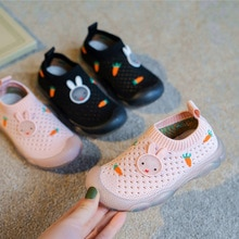 Summer 2021 New Mesh Breathable Children's Shoes Girls Sneakers Baby Shoes Solid Soft Bottom Slip-on