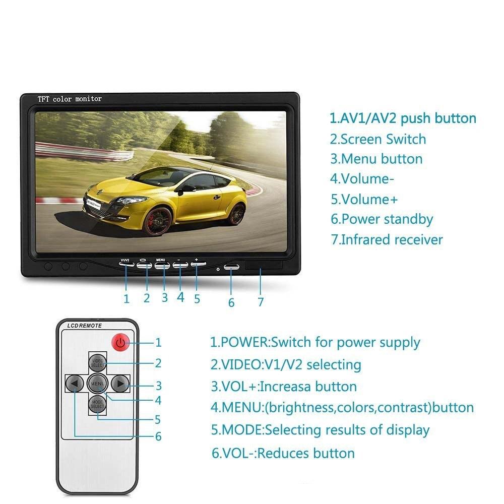 Podofo 7 inch 12V-24V LCD Car Monitor Rear View Display Waterproof 4pin IR Night Vision Reversing Backup Rear View Camera