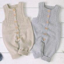Salopette en tricot pour bébés   Salopette sans manches, combinaison de couleur unie pour filles et garçons, vêtements dhiver, barboteuse, combinaison de loisirs