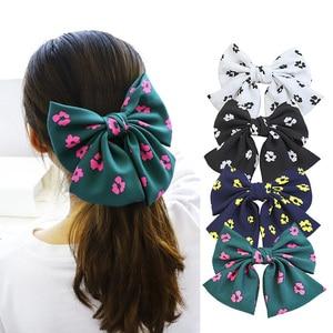 Double Layers Hair Bow Floral Fabric Hair Clip Hair Ornament Women and Girls Hair Barrettes