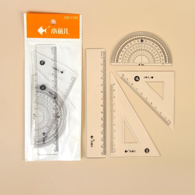 4 Pcs/Set Clear Ruler Student Drawing Tools Math Geometry Measuring Tools Soft Bendable Plastic ruler Set Stationery For School недорого