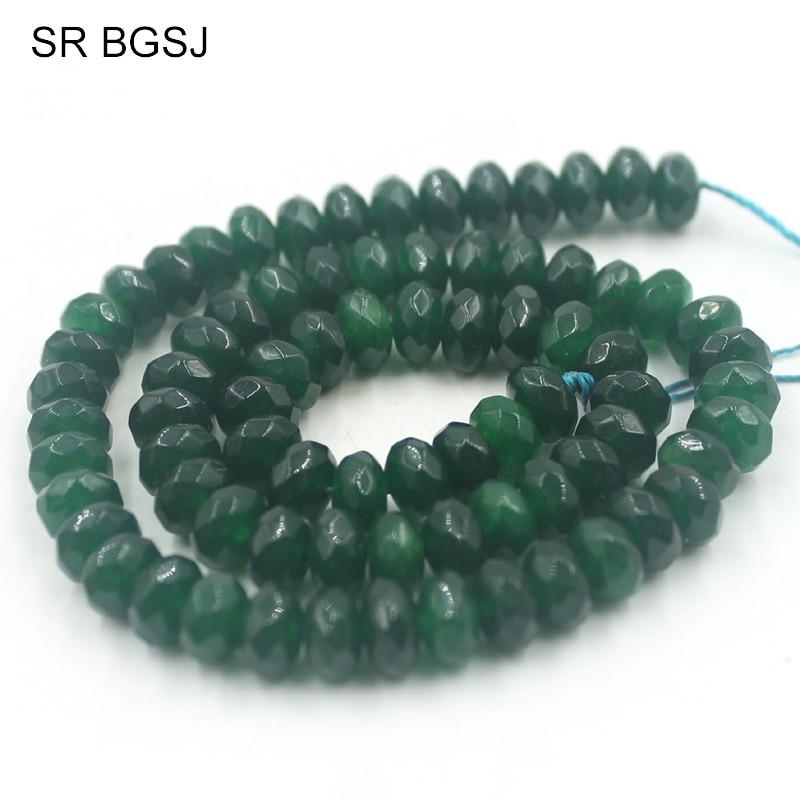 "Free Shipping SR  5x8mm Faceted  Dark Green Taiwan Jade  Rondelle Gemstone Natural Stone Spacer Craft Loose diy Beads 15"""