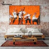 Toile dart abstraite avec personnage Orange  affiche imprimee  chambre a coucher  salon  maison  Art deco