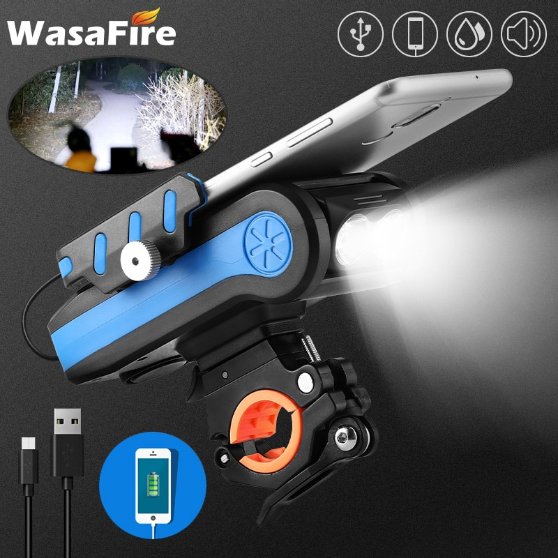 4 in 1 Bicycle Light Front 2*T6 LED Bike Light USB Rechargeable 4000mAh Power Banks Speaker Phone Ho