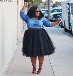 Feito sob encomenda das mulheres saia de tule plus size preto rosa gril bola vestido cintura alta falda midi na altura do joelho saias tutu segredo