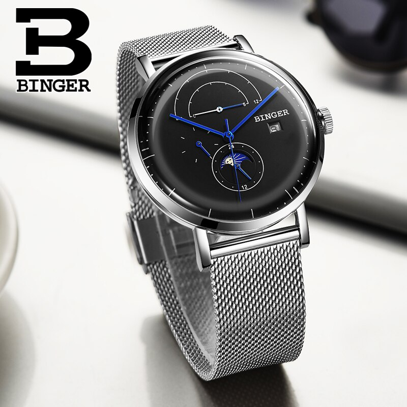 BINGER men's mechanical watches,Automatic winding,Stable and reliable mechanical watches,