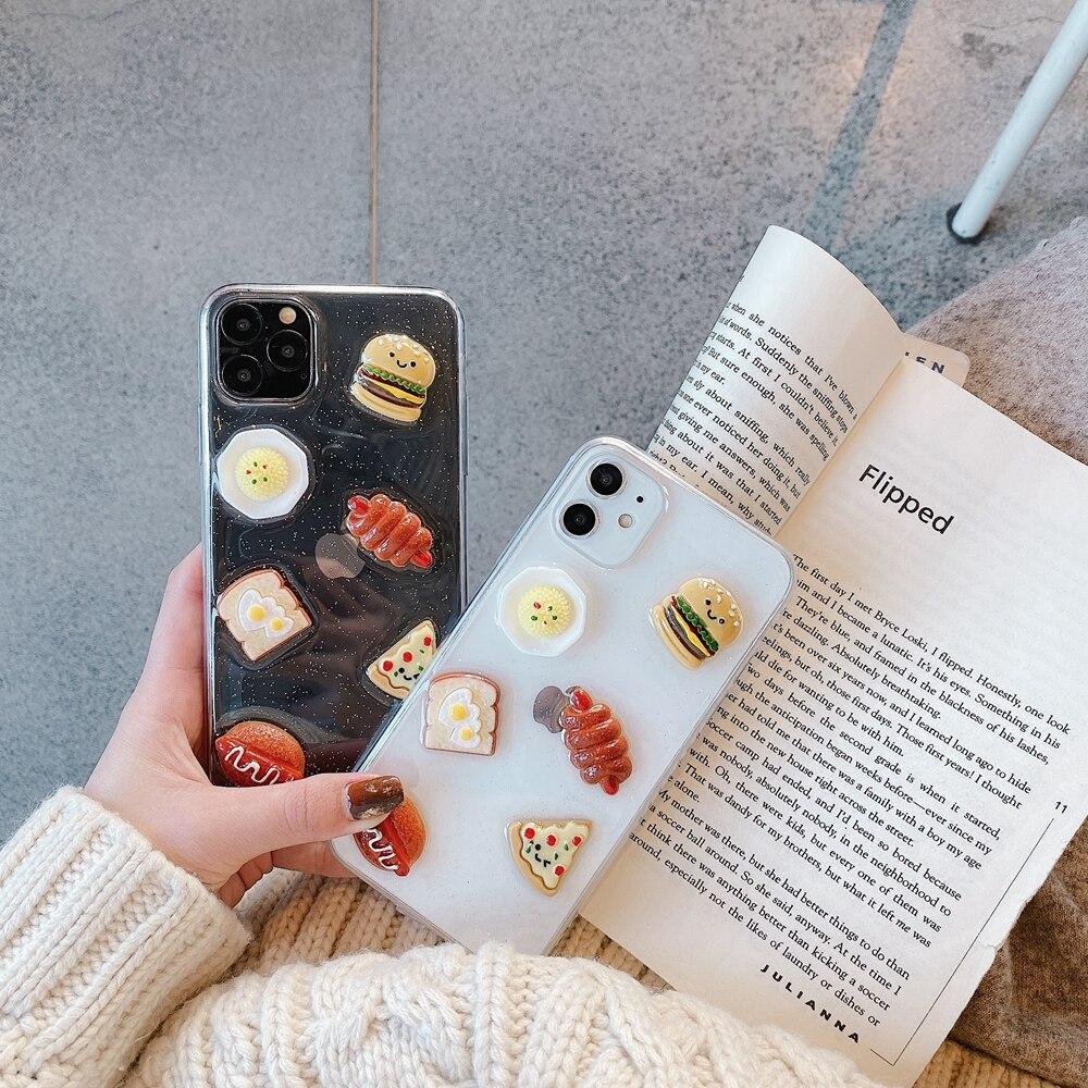 3D comida dibujos animados pan de hamburguesa de pizza duro estuche para teléfono suave para iphone 11 Pro X XR XS MAX 6 6S 7 8 Plus para samsung S8 S9 S10 nota